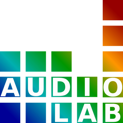 Audio Lab is written in white on a background of squares in rainbow colours.