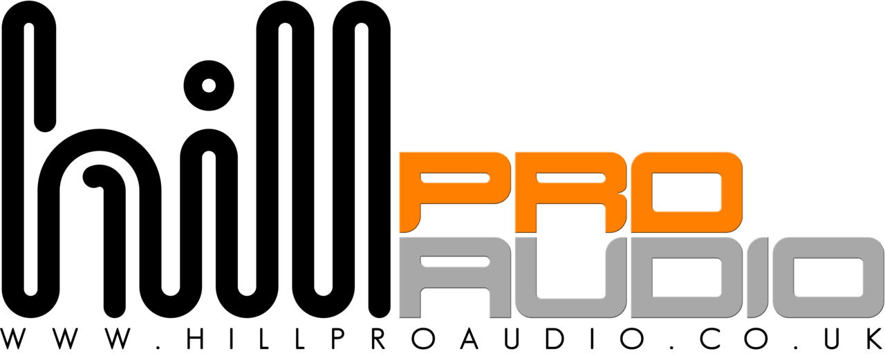 Hill pro audio is spelt in blank and orange on a white background